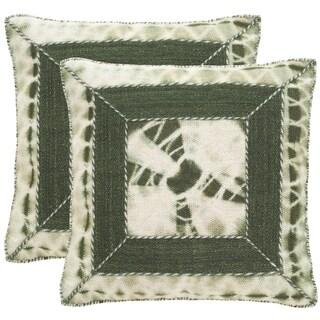 Safavieh Dip-Dye Patch 20-Inch Cilantro Decorative Throw Pillow (Set of 2)