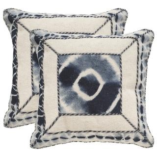 Safavieh Dip-Dye Patch 20-Inch Medina Blue Decorative Throw Pillow (Set of 2)