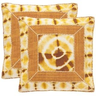Safavieh Dip-Dye Patch 24-Inch Tumeric Decorative Throw Pillow (Set of 2)
