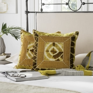 Safavieh Dip-Dye Patch 20-Inch Tumeric Decorative Throw Pillow (Set of 2)