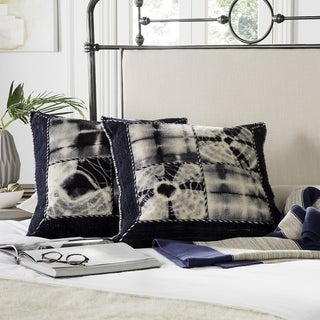 Safavieh Dip-Dye Quartre Patch 24-Inch Navy Decorative Throw Pillow (Set of 2)
