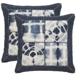 Safavieh Dip-Dye Quartre Patch 20-Inch Navy Decorative Throw Pillow (Set of 2)