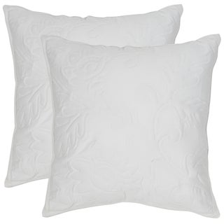 Safavieh Quilted Sunflower 20-Inch White Decorative Throw Pillow (Set of 2)