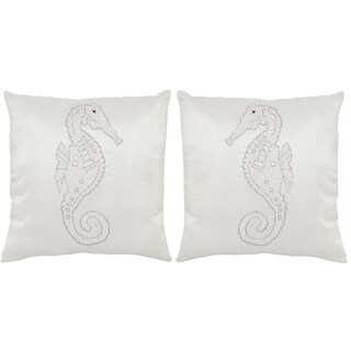 Safavieh Smooching Seahorse 18-Inch Pearlescent Decorative Throw Pillow (Set of 2)