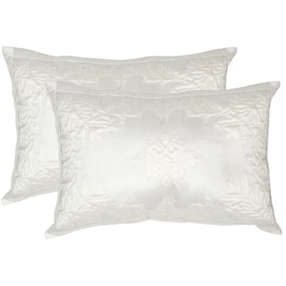Safavieh Quilted Medallion 20-Inch White Decorative Throw Pillow (Set of 2)