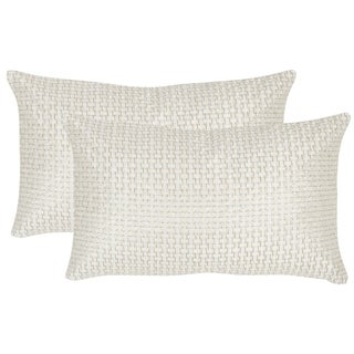 Safavieh Box Stitch 20-Inch White Gold Decorative Throw Pillow (Set of 2)