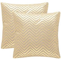Safavieh Elle 18-Inch Gold Decorative Throw Pillow (Set of 2)