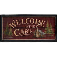 'Welcome to the Cabin' Nonskid Kitchen Accent Mat Rug - Brown/Red - 1'8 x 3'8