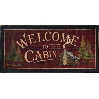 "'Welcome to the Cabin' Nonskid Kitchen Accent Mat Rug - 1'8"" x 3'8"""
