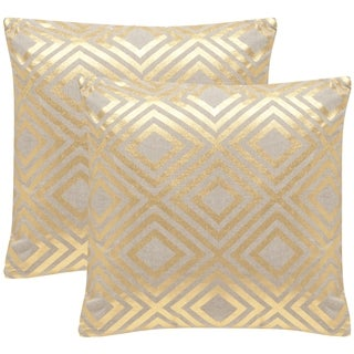 Safavieh Chloe 18-inch Gold Decorative Throw Pillow (Set of 2)
