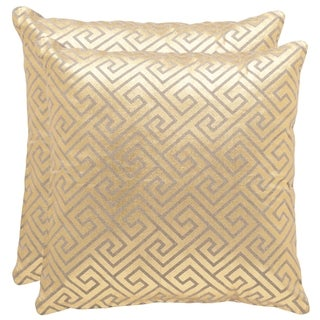 Safavieh Jayden 18-Inch Gold Decorative Throw Pillow (Set of 2)