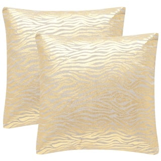 Safavieh Demi 18-inch Gold Decorative Throw Pillow (Set of 2)