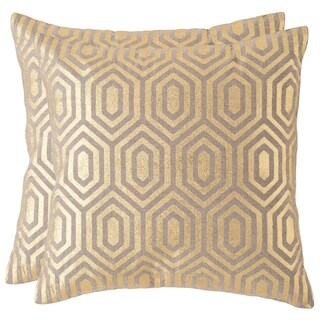 Safavieh Harper 18-inch Gold Decorative Throw Pillow (Set of 2)