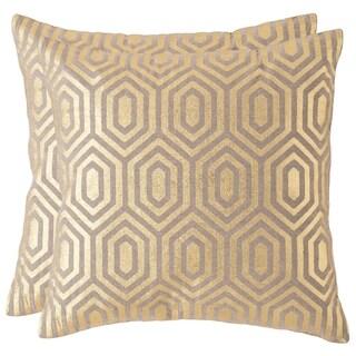Safavieh Harper 18-inch Gold Decorative Throw Pillow (Set of 2)