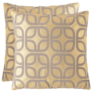 Safavieh Cole 18-Inch Gold Decorative Throw Pillow (Set of 2)
