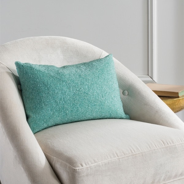 Safavieh Allure 18-Inch Aqua Blue Decorative Throw Pillow (Set of 2) - Free Shipping Today ...