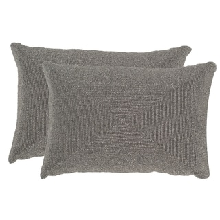 Safavieh Allure 18-Inch Silver Light Decorative Throw Pillow (Set of 2)