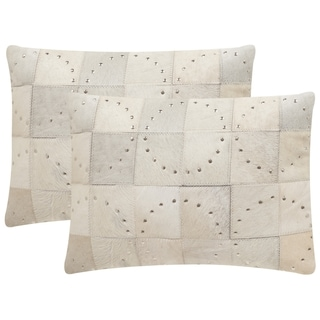 Safavieh Phoebe 20-Inch White with Silver Studs Decorative Throw Pillow (Set of 2)