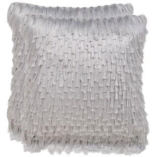 Safavieh Cali Shag 24-inch Platinum Feather/ Down Decorative Shaggy Pillow (Set of 2)
