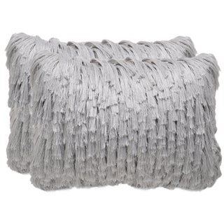 Safavieh Cali Shag 20-inch Platinum Decorative Throw Pillow (Set of 2)