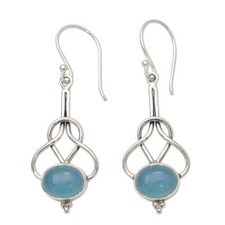 Sterling Silver 'Positive Path' Chalcedony Earrings (India)
