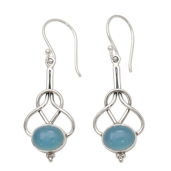 Handmade Sterling Silver 'Positive Path' Chalcedony Earrings (India) - Blue