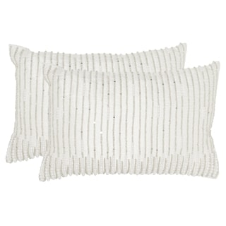 Safavieh Anya 18-Inch Silver & Pearls Decorative Throw Pillow (Set of 2)