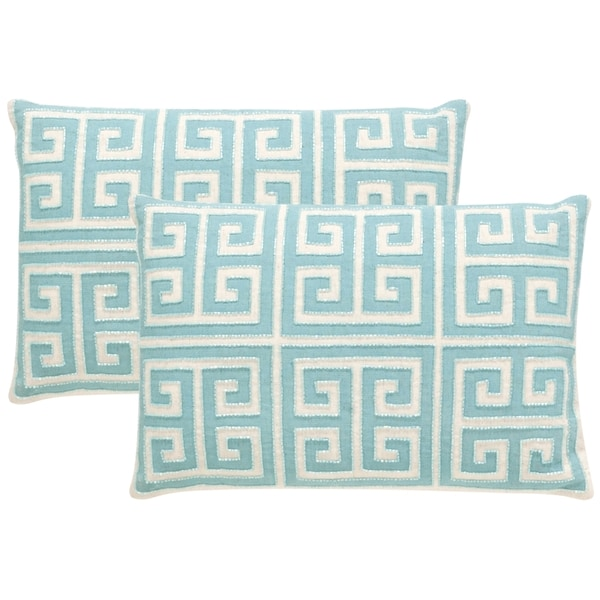 Safavieh Chy 18-Inch Aqua Blue Decorative Throw Pillow (Set of 2)