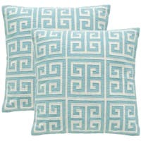 Safavieh Chy 18-inch Aqua Blue Decorative Throw Pillow (Set of 2)