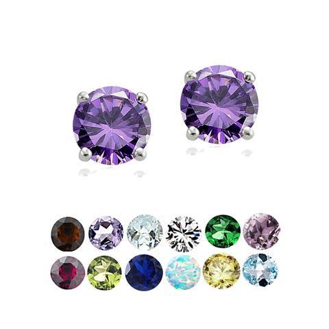 Glitzy Rocks Sterling Silver Round Gemstone Birthstone Stud Earrings