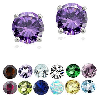 Glitzy Rocks Sterling Silver Round Gemstone Birthstone Stud Earrings (Option: February)
