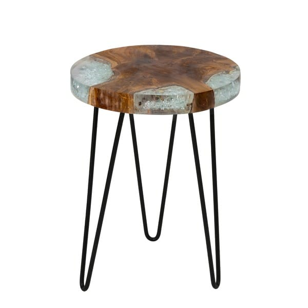 Kakalina icy wood and iron small side table free for Small wooden side table