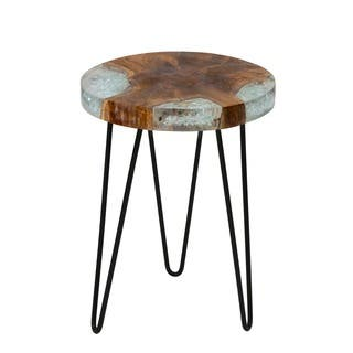 East At Main's Kakalina Side Table Small in Icy Wood with Iron Legs