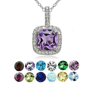 Glitzy Rocks Sterling Silver Gemstone Birthstone Cushion Necklace