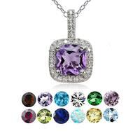 Glitzy Rocks Sterling Silver Gemstone Birthstone Cushion Necklace