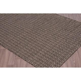Handwoven Reversible Black/Beige Flatweave Wool Rug (7'6 x 9'6)
