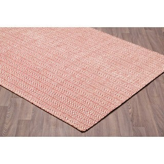 Hand-woven Ivory Red Wool Reversible Flatweave Rug (7'6 x 9'6) - 7'6 x 9'6
