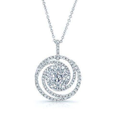 14k White Gold 2 1/10ct TDW Diamond Circle Swirl Pendant (G-H, VS-SI)