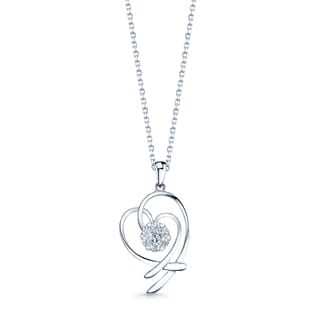 14k White Gold 1/6ct TDW Diamond Double Heart Pendant (G-H, VS-SI)