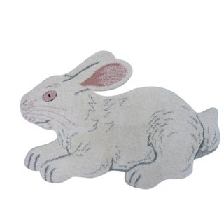 Cute Bunny Rabbit White Wool Rug White (2' x 3')