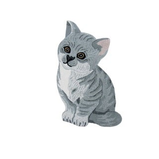 Cute Kitten Grey Wool Rug (2' x 3')