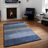 Hand-loomed Blue/ Beige Striped Wool Rug (5' x 8')