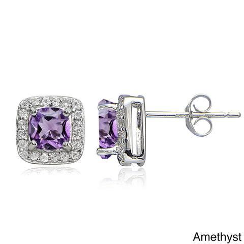 Glitzy Rocks Sterling Silver Gemstone Birthstone Cushion-Cut Stud Earrings