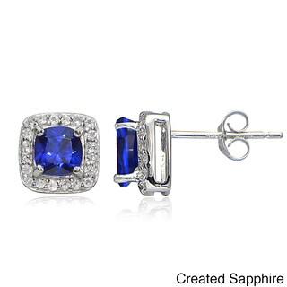 Glitzy Rocks Sterling Silver Gemstone Birthstone Cushion-Cut Stud Earrings (More options available)