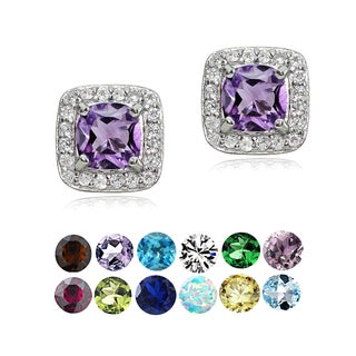 Glitzy Rocks Sterling Silver Gemstone Birthstone Cushion-Cut Stud Earrings