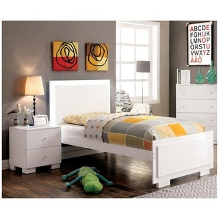 Furniture of America Isobelle Modern 2-piece White Bed and Nightstand Set
