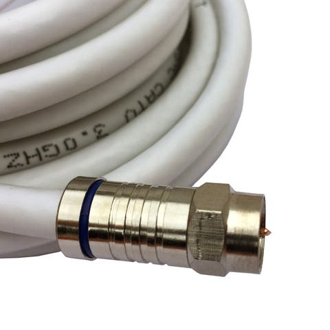 Black Point Products Inc BV-123-WHITE 12' RG6 White Quad Shield W/Connectors Coaxial Cable