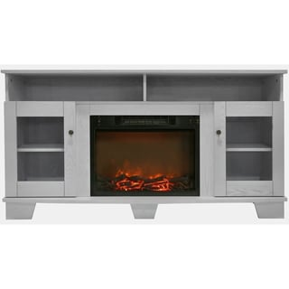 Cambridge CAM6022-1WHT Savona White Fireplace Mantel with Electronic Fireplace Insert