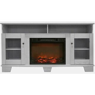 Cambridge CAM6022-1WHT Savona White Fireplace Mantel with Electronic Fireplace Insert
