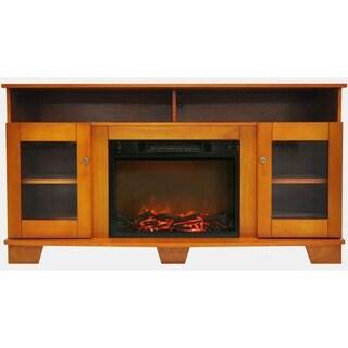 Cambridge CAM6022-1TEK Savona Teak Fireplace Mantel with Electronic Fireplace Insert